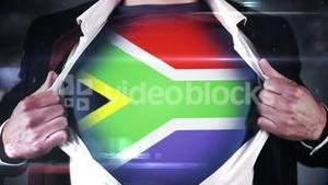 Businessman opening shirt to reveal south african flag