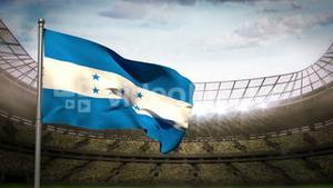 Honduras national flag waving on stadium arena