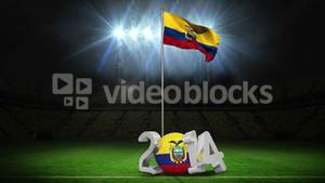 Ecuador national flag waving on football pitch with message