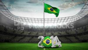 Brazil national flag waving in football stadium