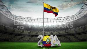 Ecuador national flag waving in football stadium