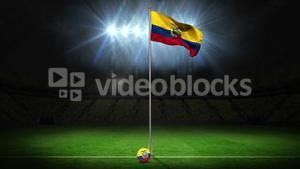 Ecuador national flag waving on flagpole