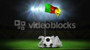 Cameroon national flag waving on flagpole with message