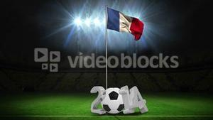 French national flag waving on flagpole with 2014 message