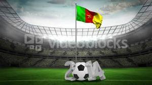 Cameroon national flag waving on flagpole with 2014 message