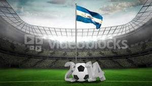 Honduras national flag waving on flagpole with 2014 message
