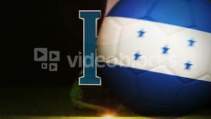 Football player kicking honduras flag ball