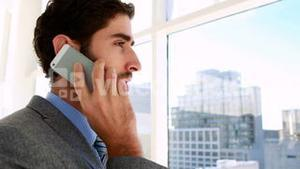 Handsome businessman talking on his phone