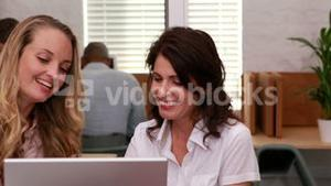 Casual businesswomen having a meeting with laptop