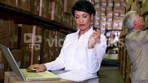 Warehouse manager working on laptop