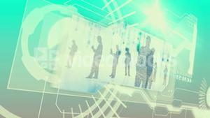 Digital interface with business people silhouette