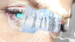 Eyes looking at holographic interface with business people