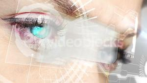 Eyes looking at holographic interface with coding words
