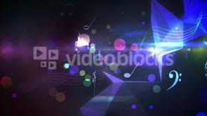 Colourful abstract music design on black