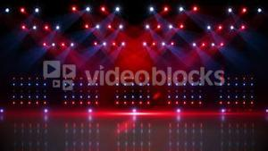 Stage under red and blue spotlights