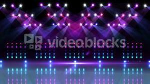 Stage under purple and blue spotlights