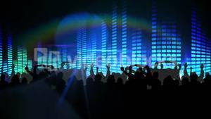 Nightclub with blue lights and dancing crowd