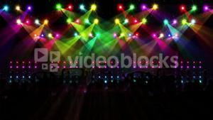 Nightclub with light show and dancing crowd