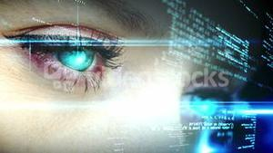 Eyes looking at holographic interface with text