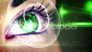 Eye looking at futuristic interface showing letters