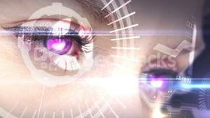 Eyes looking at holographic interface