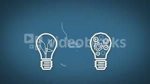 Light bulb graphics appearing on blue background