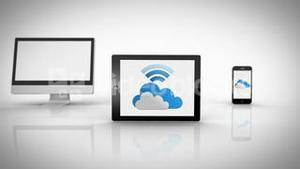 Media devices showing cloud computing graphic with wifi symbol
