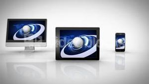 Media devices showing earth graphic