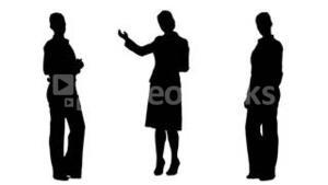 Silhouettes of businesswomen presenting and speaking