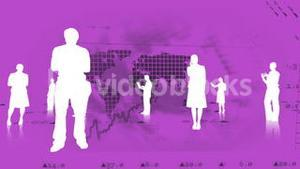 Silhouettes of business people against stock market graphics