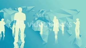 White silhouettes of business people
