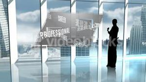 Silhouette of businesswoman presenting business buzzwords