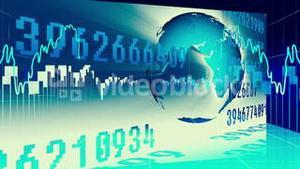 Blue international finance and business concept