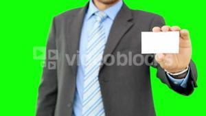 Businessman showing his business card