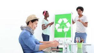 Creative business team meeting about recycling policy