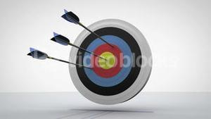 Arrows flying towards dart board and hitting target