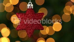 Focus on red star christmas decoration