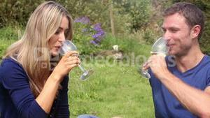 Couple drinking white wine together