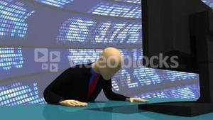 Animation presenting a 3d man using his computer