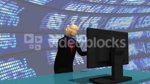 Animation presenting a enthusiastic 3dman with a desktop