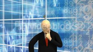 Animated graphics showing 3d man standing and thinking of money