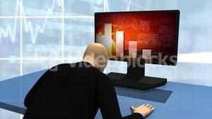 Animated graphics presenting 3d man looking at declined share market