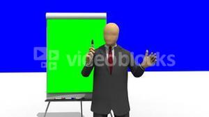 Animation showing 3d man giving a presentation with the help of a board