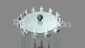 Computer animation showing a group of 3d men sitting at a table