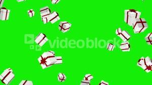 Red and white presents falling on green