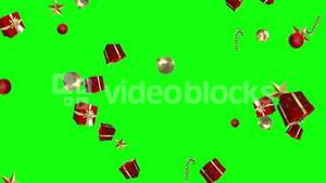 Gifts candy canes and christmas decorations falling