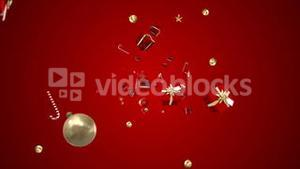 Christmas presents moving on red background