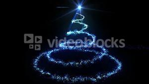 Blue light forming christmas tree design