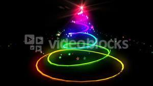 Colourful light forming christmas tree design
