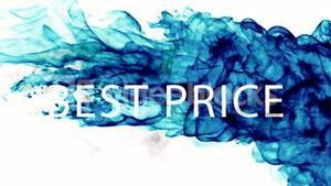 Blue ink swirling in water with best price message